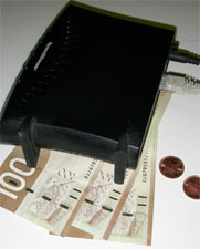 Internet modem with dollar bills