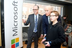 Tobin Haas, SickKids patient ambassador, tests the new Xbox One with Michael Hilliard (Senior Corporate Counsel , Microsoft Canada) and John Hartman (Chief Operating Officer, Children's Miracle Network) at The Hospital for Sick Children (SickKids). It's part of a major technology donation to the hospital.