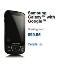 Bell launches Samsung Galaxy, its first Android handset.