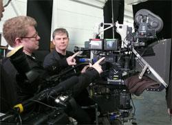 James Stewart, far left, on a recent 3D film shoot in Toronto.