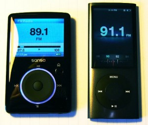 Front view of iPod nano 5G and Sansa Fuze.