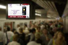 Digital Sign Hanging Over TTC Subway Platform