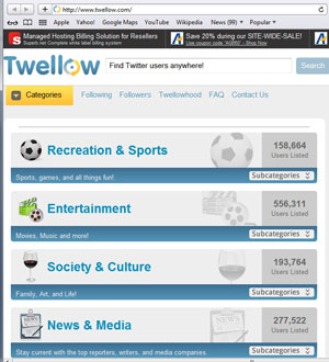 Twellow lets you use keywords and geography to define your audience profile.