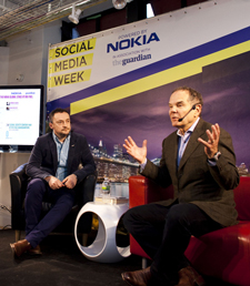 SWM's global keynote speaker was Canada's Don Tapscott (right), seen here with the event's founder Toby Daniels