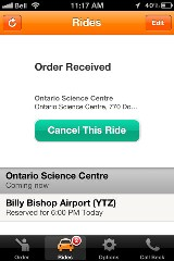 Taxi app confirmation screen