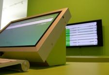 digital screens in gallery space
