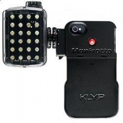 Lights and other accessories can be attached to a smartphone using a special case, like the KLYP from Manfrotto.