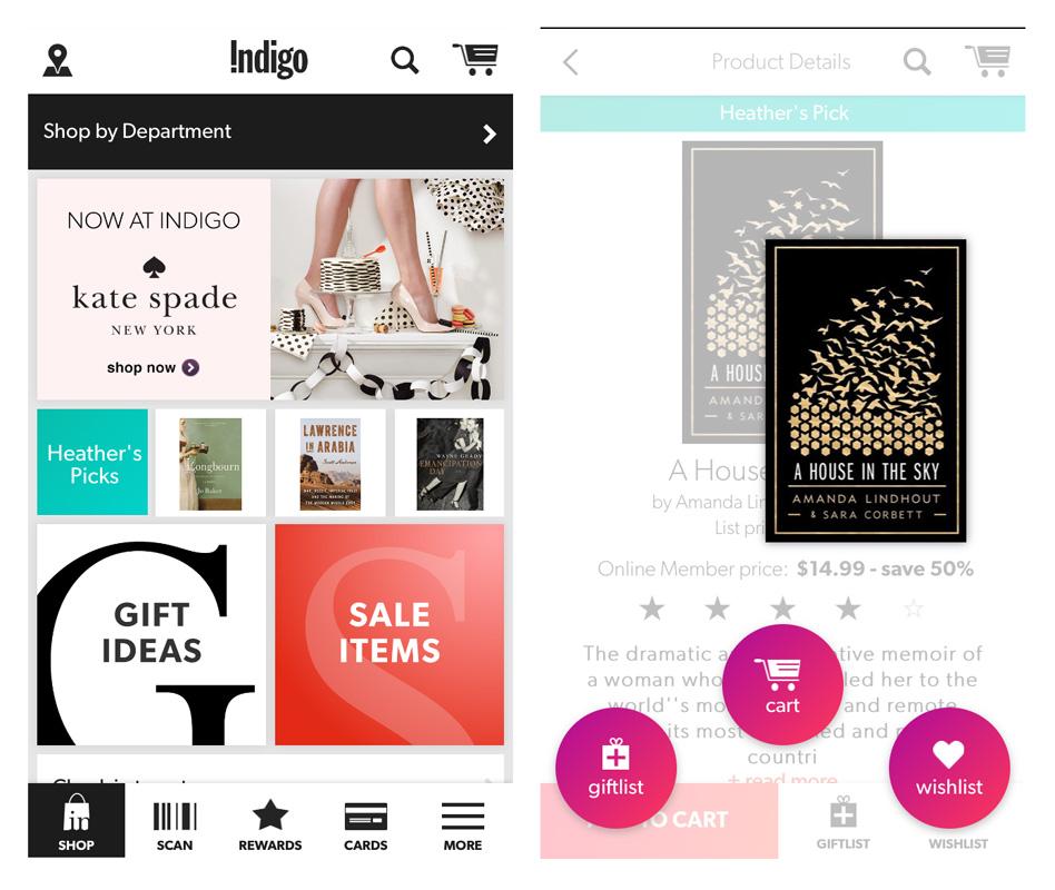 Indigo app screens