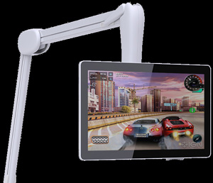 Bedside mounting options for the i3 Panacea touchscreen monitor include a flexible arm from Remedi.