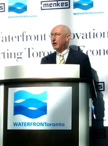 Waterfront Toronto President and CEO John Campbell announces the Waterfront Innovation Centre; his term at the agency ends this fall.
