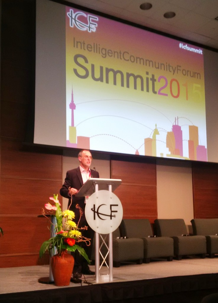 ICF co-founder Robert Bell described and illustrated the initiatives of many intelligent communities around the world.