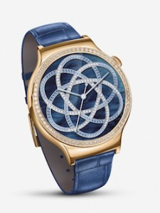 New Huawei Watch Jewel featuring blue leather strap, with the rose gold-plated case encrusted with Swarovski crystals (PRNewsFoto/Huawei Consumer BG)
