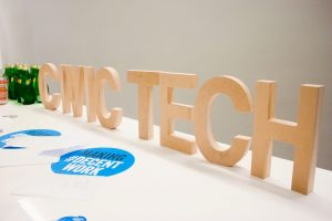 large letters spell out civic tech