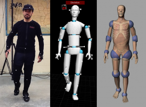 motion capture process shown in three composited images