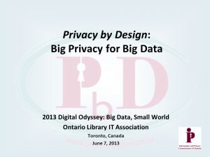 Privacy by Design event poster from 2013