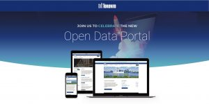 open data toronto portal shown on digital screens
