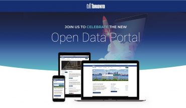 open data toronto portal shown on screens