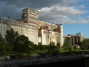 stately industrial building situated near waterfront
