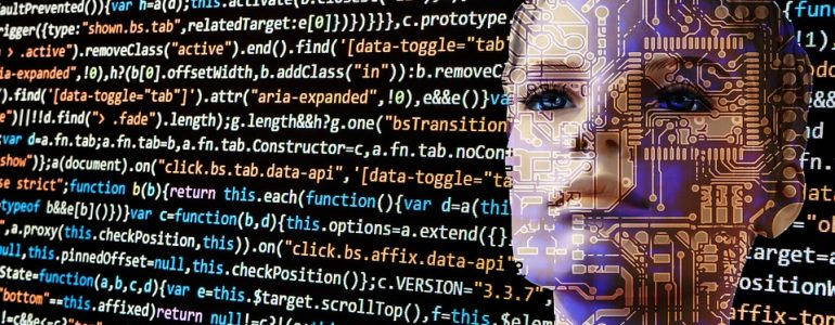 CGI face and head surrounded by computer code
