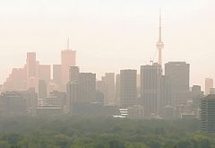 smoggy city skyline