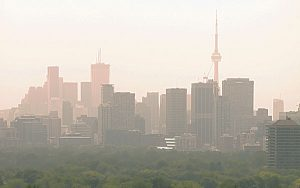 Toronto's smoggy skyline is pictured