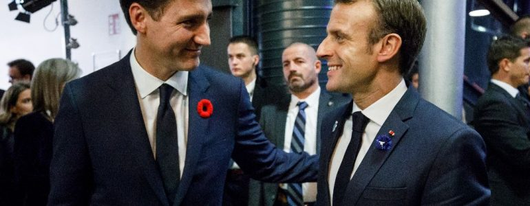 Justin Trudeau and Emmanuel Macron pictures during G7 confernce