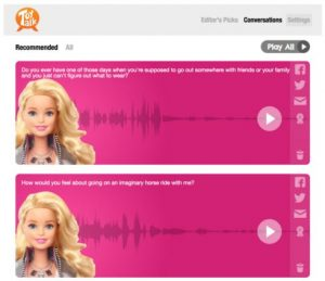 talking barbie doll and audio graphic images
