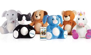 smartphone surrounded by stuffed toys