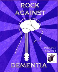 Rock Againsgt Dementia poster shows guitar over outline of human head
