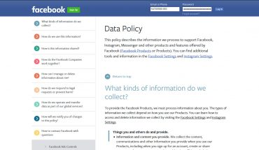 Facebook privacy [page screen grab