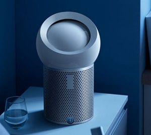dyson air purifier on nightside bed table