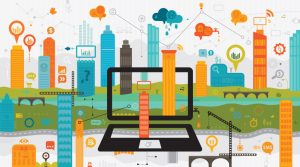 colourful graphic shows smart city technology