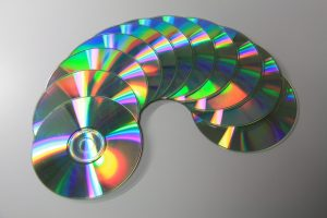 several compact discs in a circle