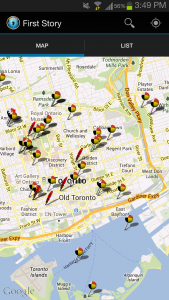 map shows historic Indigenous sites and locations in Toronto