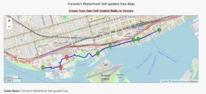 a map of the waterfront district in Toronto shows walking tour route