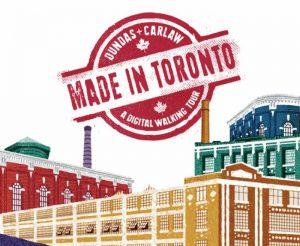 colourful graphic shows older buildings and factories with text title