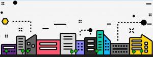 cartton graphic shows stylized city skyline