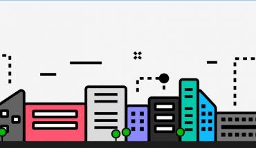 graphic shows stylized city skyline