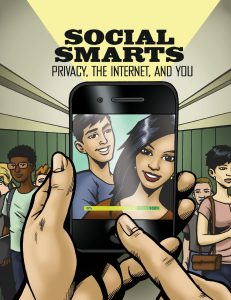 cartoon shows smiling teenaged faces on the screen of a smartphone