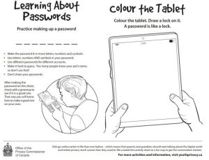 blak and white line drawing shows hands holding a digital tablet