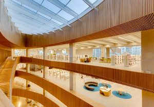 interior view of large atrium and new multi-level library building