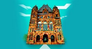 Ontario legislature building seen in stylized digital graphic