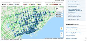 map shows multiple traffic camera locations in Toronto