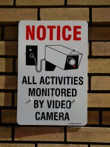 video surveillance notice sign
