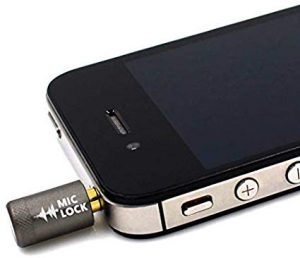 Mic-Lock device plugged into smartphone