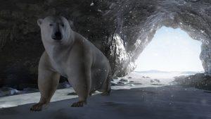 polar bear inside a rocky ice cave