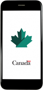 smartphone screen shows Canadian maple leaf symbol