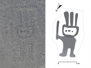 faint outline of human figure on left; more distinct drawing ofsame figure on right