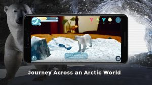 polar bear app shown on smartphone with ice cave scene behind