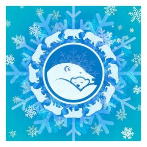 graphic depictions of stylized polar bears on snowflake background